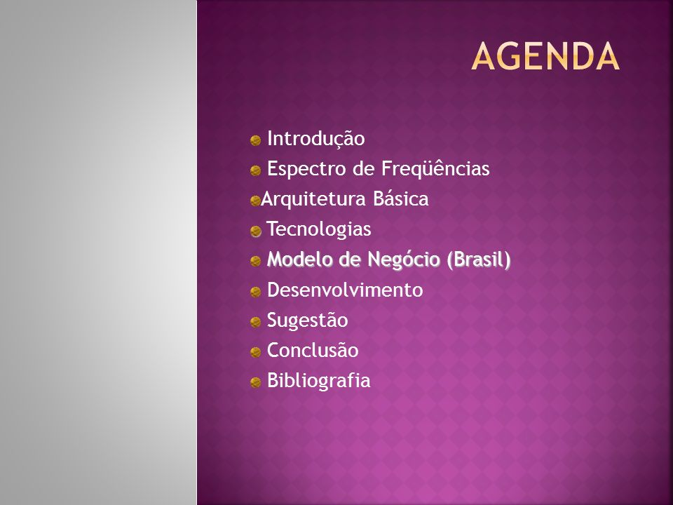Introdução Espectro de Freqüências Arquitetura Básica Tecnologias Modelo de Negócio (Brasil) Desenvolvimento Sugestão Conclusão Bibliografia
