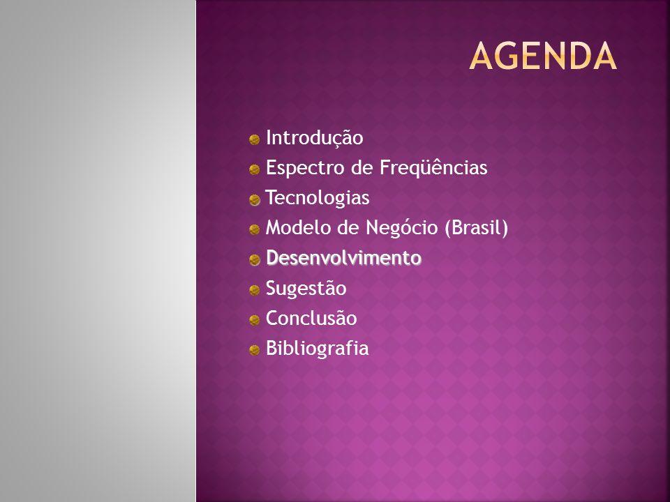 Introdução Espectro de Freqüências Tecnologias Modelo de Negócio (Brasil) Desenvolvimento Desenvolvimento Sugestão Conclusão Bibliografia