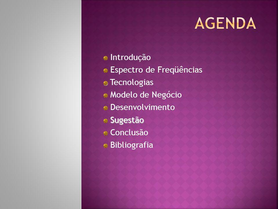 Introdução Espectro de Freqüências Tecnologias Modelo de Negócio Desenvolvimento Sugestão Conclusão Bibliografia