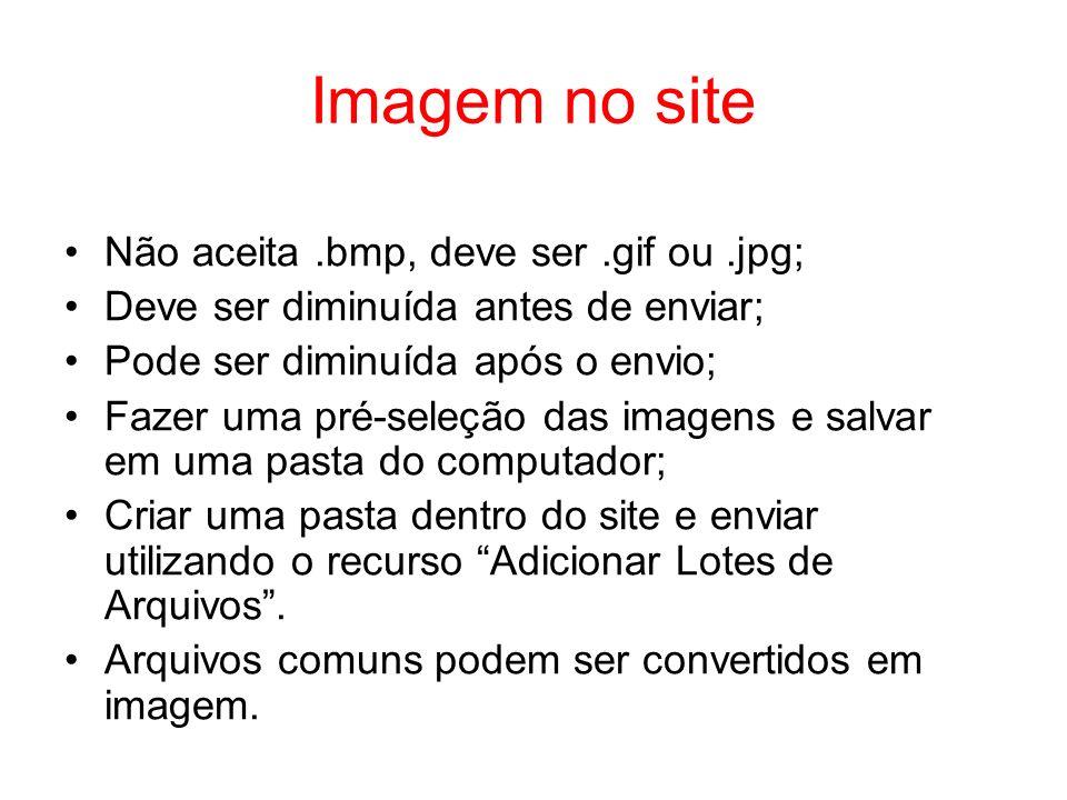 Imagem no site Não aceita.bmp, deve ser.gif ou.jpg; Deve ser diminuída antes de enviar; Pode ser diminuída após o envio; Fazer uma pré-seleção das ima