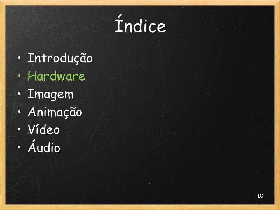 10 Índice Introdução Hardware Imagem Animação Vídeo Áudio