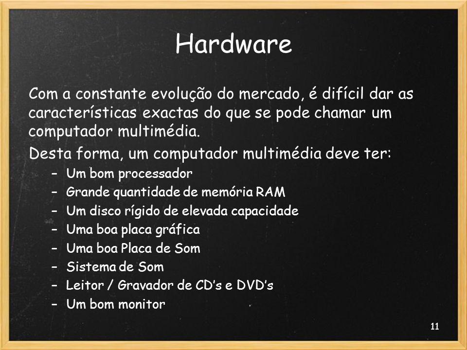 11 Hardware Com a constante evolução do mercado, é difícil dar as características exactas do que se pode chamar um computador multimédia. Desta forma,