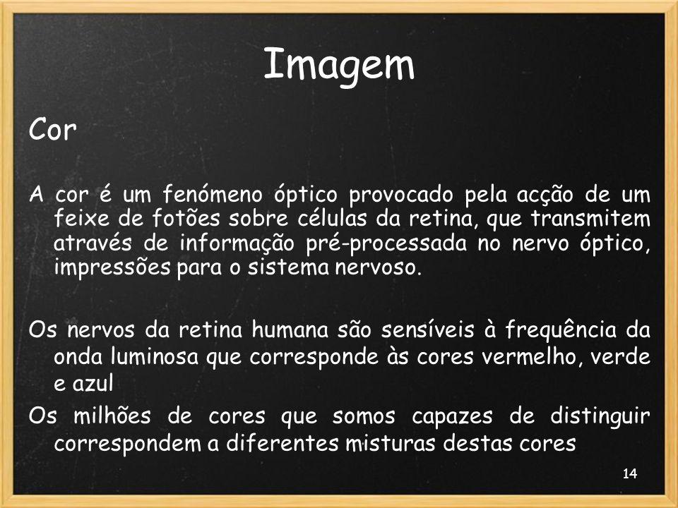 14 Imagem Cor A cor é um fenómeno óptico provocado pela acção de um feixe de fotões sobre células da retina, que transmitem através de informação pré-