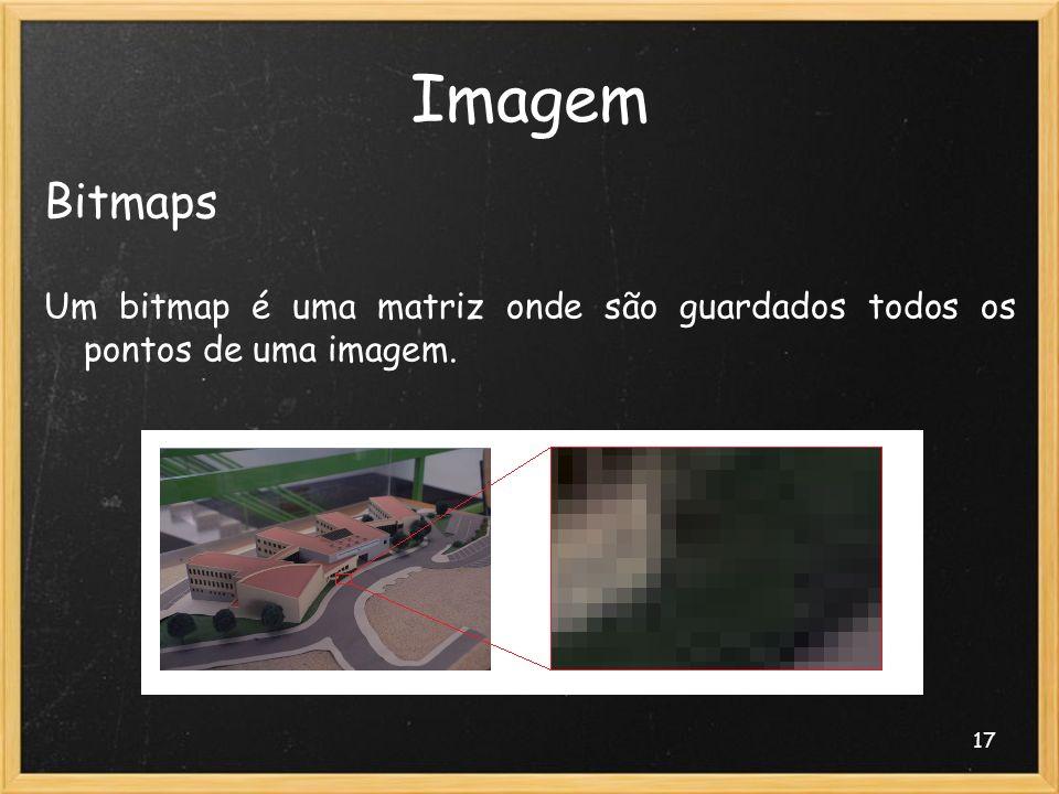 17 Imagem Bitmaps Um bitmap é uma matriz onde são guardados todos os pontos de uma imagem.