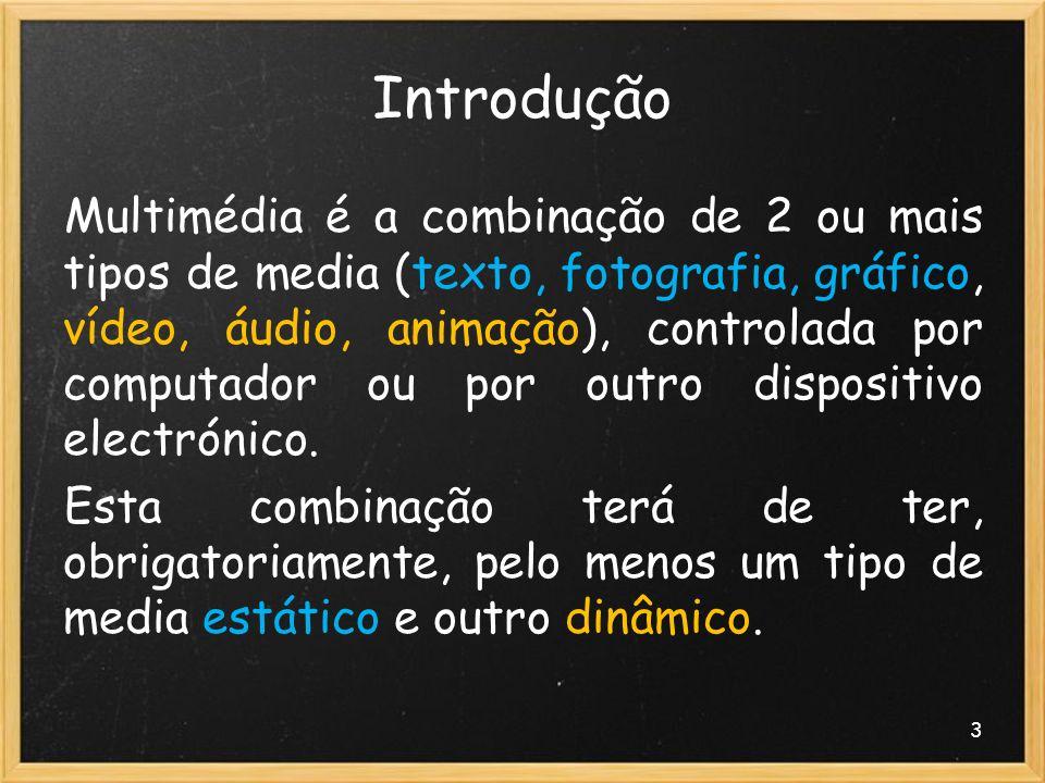 3 Introdução Multimédia é a combinação de 2 ou mais tipos de media (texto, fotografia, gráfico, vídeo, áudio, animação), controlada por computador ou