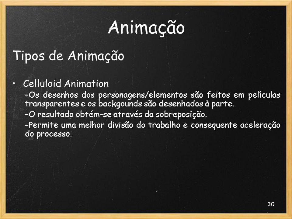30 Animação Tipos de Animação Celluloid Animation –Os desenhos dos personagens/elementos são feitos em películas transparentes e os backgounds são des