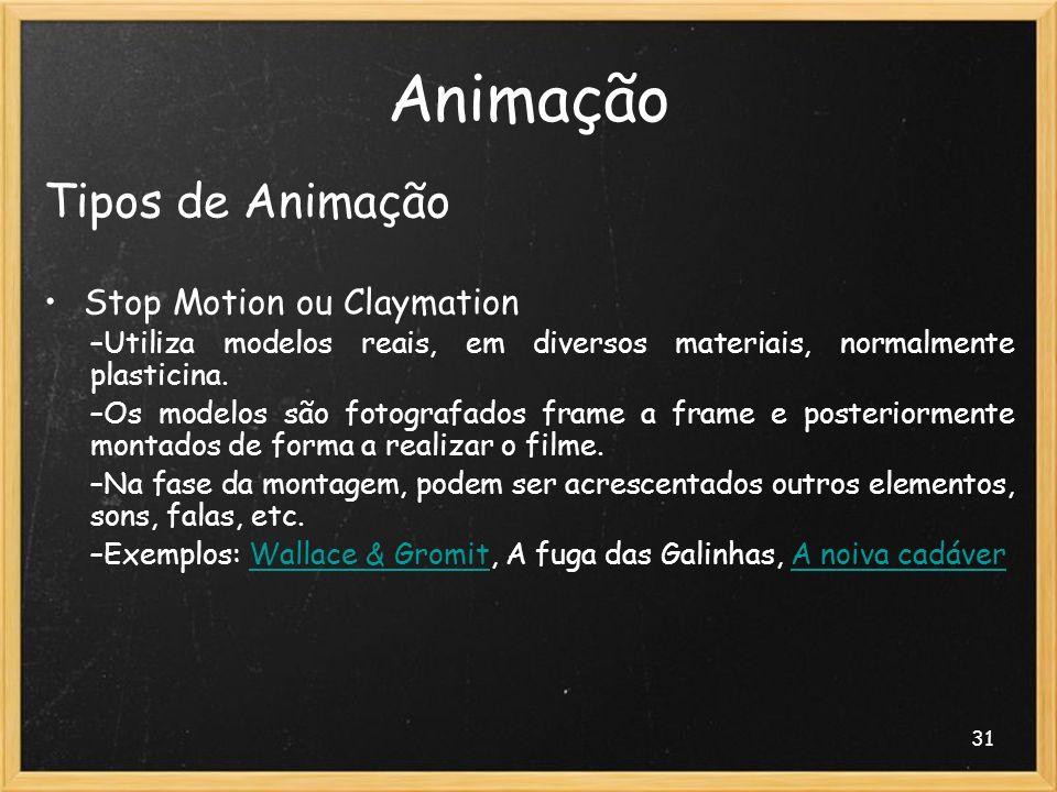 31 Animação Tipos de Animação Stop Motion ou Claymation –Utiliza modelos reais, em diversos materiais, normalmente plasticina. –Os modelos são fotogra