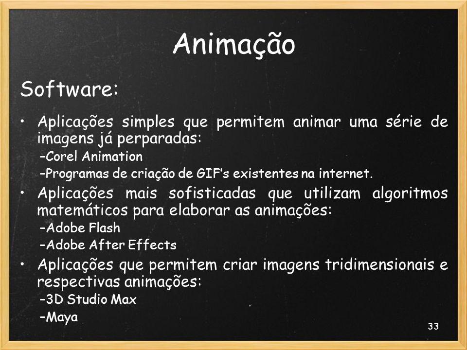 33 Animação Software: Aplicações simples que permitem animar uma série de imagens já perparadas: –Corel Animation –Programas de criação de GIFs existe