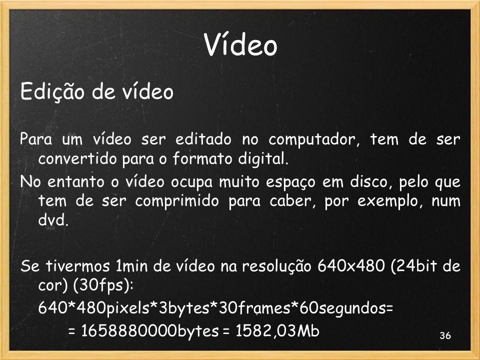 36 Vídeo Edição de vídeo Para um vídeo ser editado no computador, tem de ser convertido para o formato digital. No entanto o vídeo ocupa muito espaço