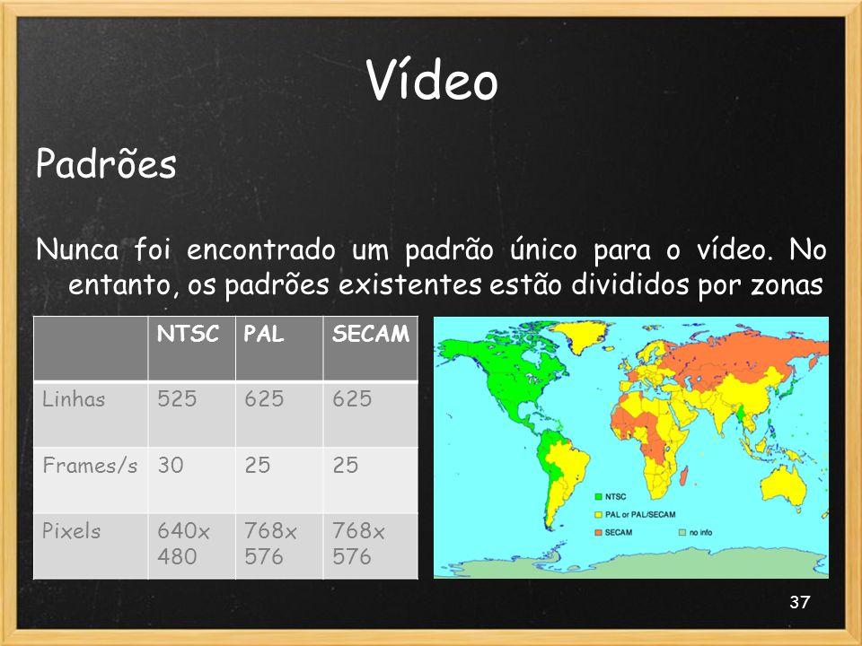 37 Vídeo Padrões Nunca foi encontrado um padrão único para o vídeo. No entanto, os padrões existentes estão divididos por zonas NTSCPALSECAM Linhas525