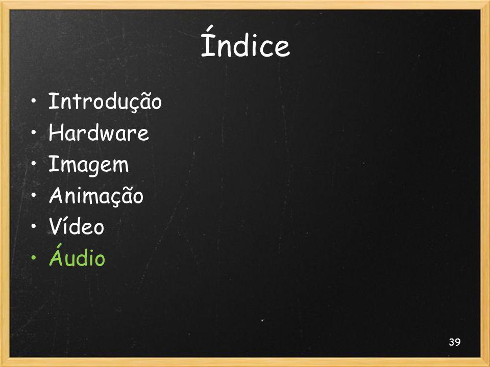 39 Índice Introdução Hardware Imagem Animação Vídeo Áudio
