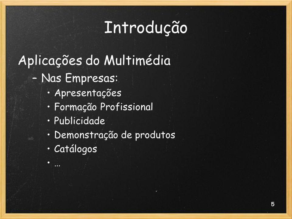 5 Introdução Aplicações do Multimédia –Nas Empresas: Apresentações Formação Profissional Publicidade Demonstração de produtos Catálogos …