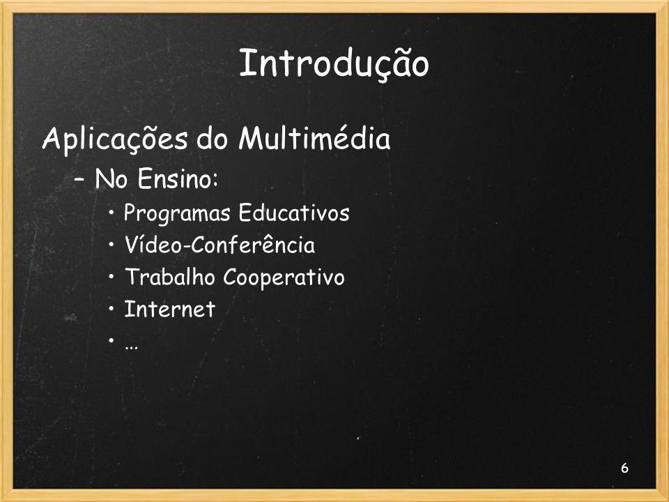 6 Introdução Aplicações do Multimédia –No Ensino: Programas Educativos Vídeo-Conferência Trabalho Cooperativo Internet …