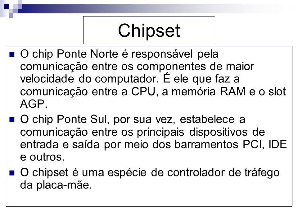 Chipset O chip Ponte Norte é responsável pela comunicação entre os componentes de maior velocidade do computador. É ele que faz a comunicação entre a