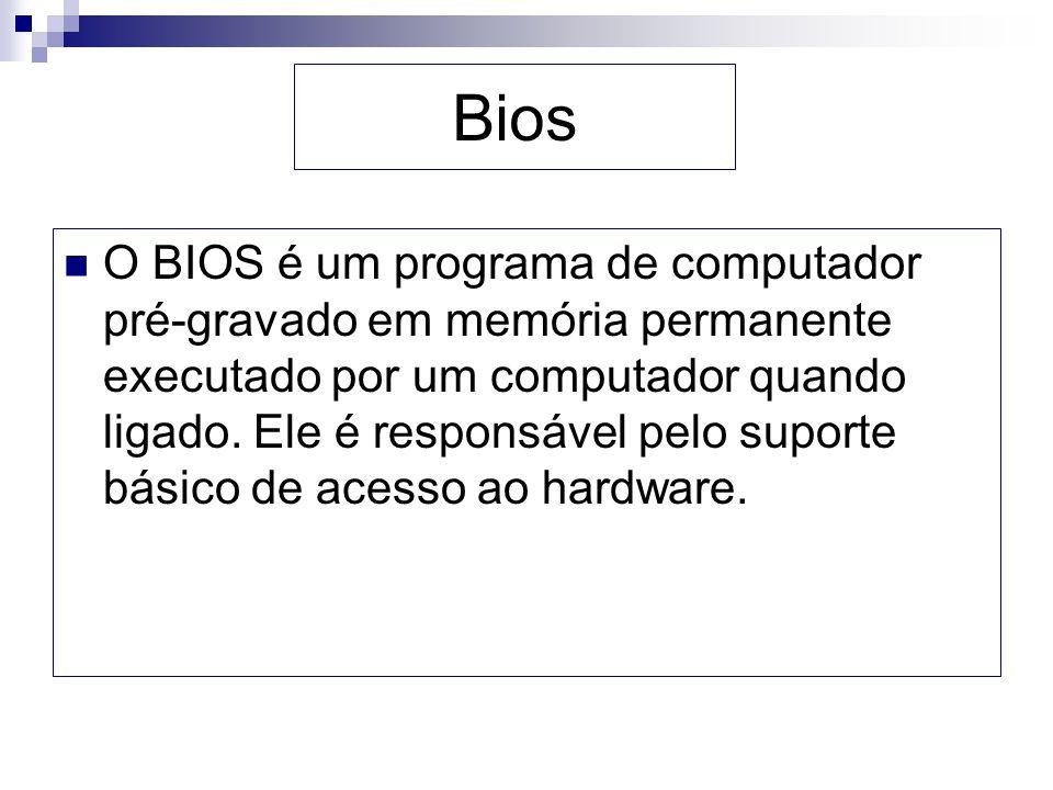 Bios O BIOS é um programa de computador pré-gravado em memória permanente executado por um computador quando ligado. Ele é responsável pelo suporte bá