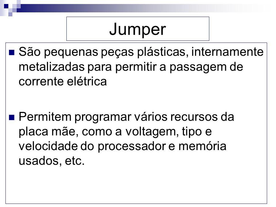 Jumper São pequenas peças plásticas, internamente metalizadas para permitir a passagem de corrente elétrica Permitem programar vários recursos da plac