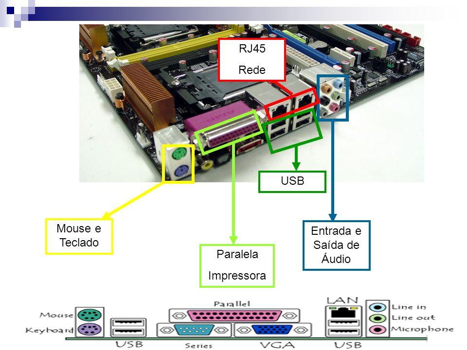 Mouse e Teclado RJ45 Rede Entrada e Saída de Áudio USB Paralela Impressora