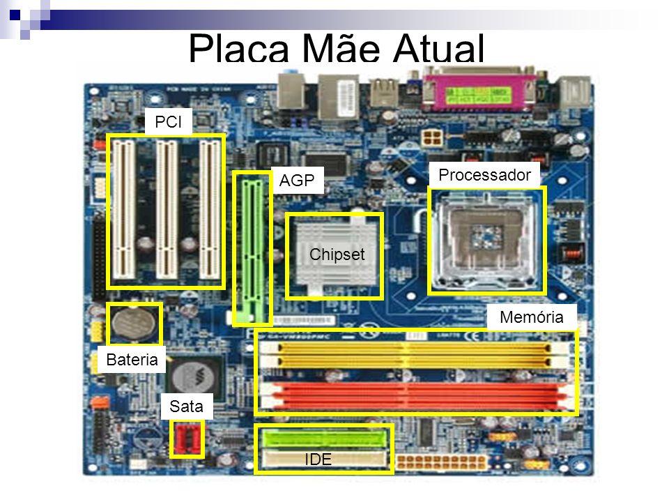 Placa Mãe Atual Memória Processador AGP PCI IDE Sata Bateria Chipset