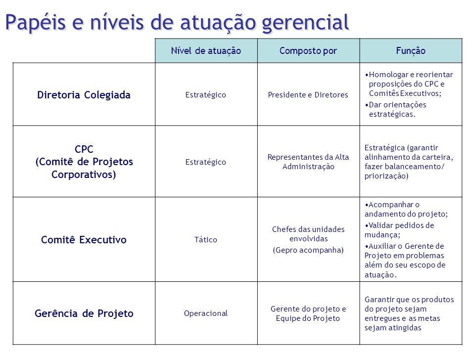 Papéis e níveis de atuação gerencial Nível de atuaçãoComposto porFunção Diretoria Colegiada EstratégicoPresidente e Diretores Homologar e reorientar p