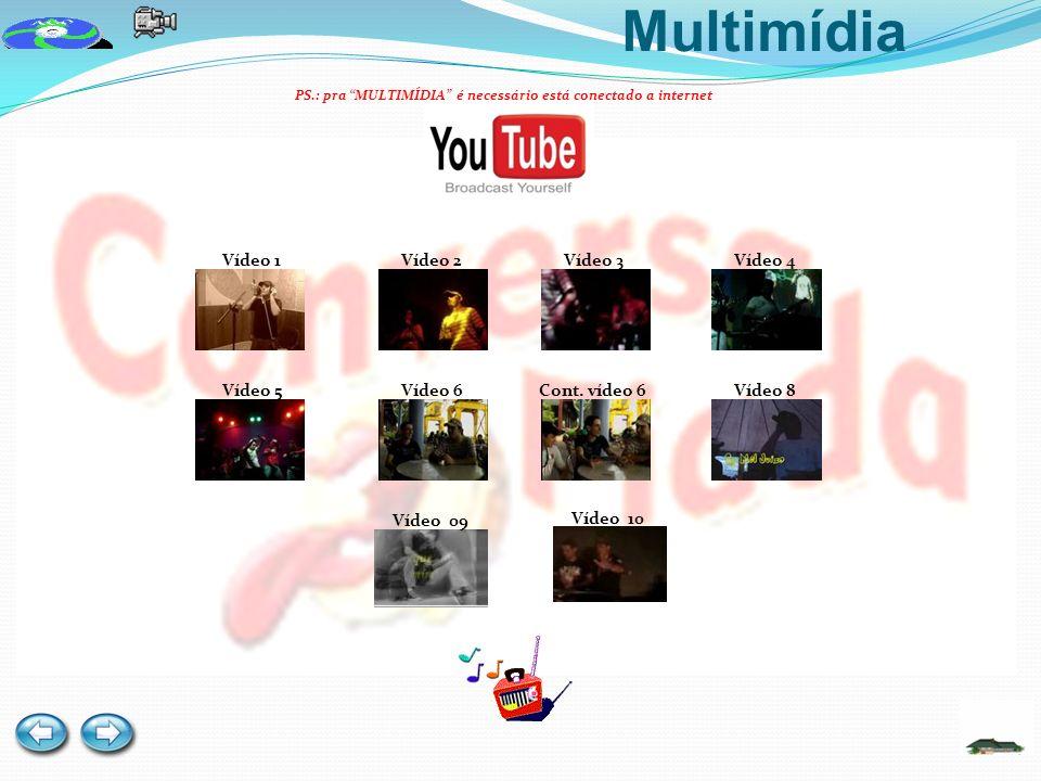 Multimídia PS.: pra MULTIMÍDIA é necessário está conectado a internet Vídeo 1Vídeo 2Vídeo 4Vídeo 3 Vídeo 5Vídeo 6Cont.