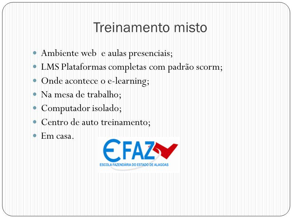 Treinamento misto Ambiente web e aulas presenciais; LMS Plataformas completas com padrão scorm; Onde acontece o e-learning; Na mesa de trabalho; Compu