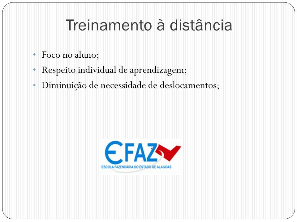 Treinamento à distância Foco no aluno; Respeito individual de aprendizagem; Diminuição de necessidade de deslocamentos;