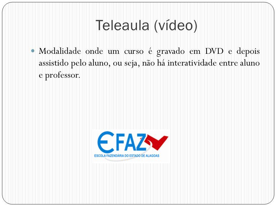 Teleaula (vídeo) Modalidade onde um curso é gravado em DVD e depois assistido pelo aluno, ou seja, não há interatividade entre aluno e professor.