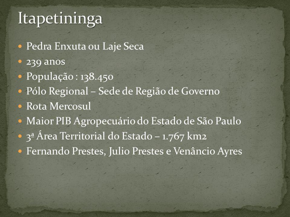 Pedra Enxuta ou Laje Seca 239 anos População : 138.450 Pólo Regional – Sede de Região de Governo Rota Mercosul Maior PIB Agropecuário do Estado de São