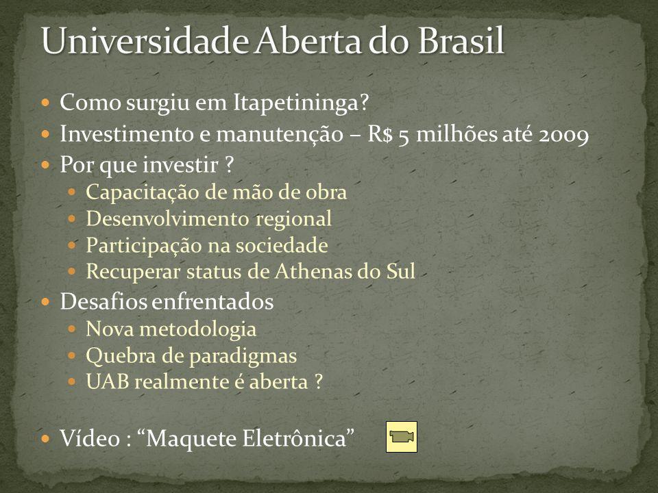 Como surgiu em Itapetininga? Investimento e manutenção – R$ 5 milhões até 2009 Por que investir ? Capacitação de mão de obra Desenvolvimento regional