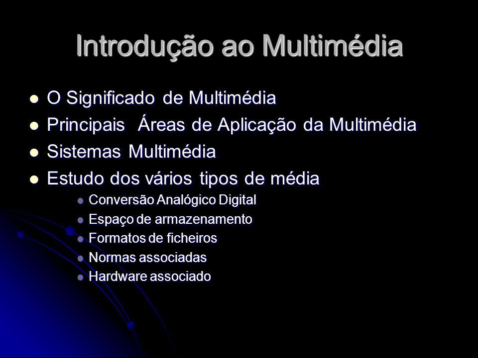 Introdução ao Multimédia O Significado de Multimédia O Significado de Multimédia Principais Áreas de Aplicação da Multimédia Principais Áreas de Aplic