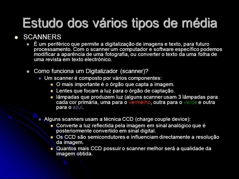 Estudo dos vários tipos de média SCANNERS É um periférico que permite a digitalização de imagens e texto, para futuro processamento. Com o scanner um