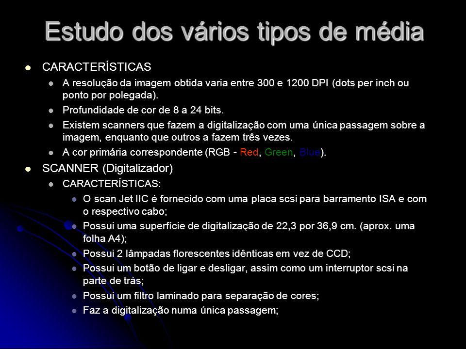 Estudo dos vários tipos de média CARACTERÍSTICAS A resolução da imagem obtida varia entre 300 e 1200 DPI (dots per inch ou ponto por polegada).