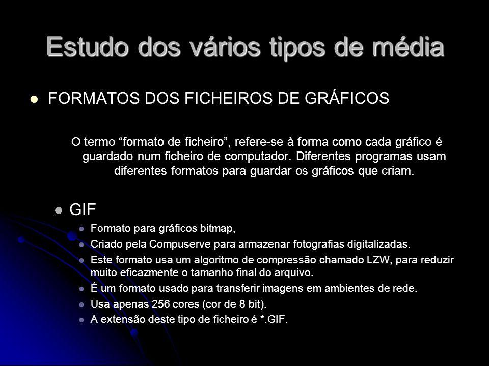 Estudo dos vários tipos de média FORMATOS DOS FICHEIROS DE GRÁFICOS O termo formato de ficheiro, refere-se à forma como cada gráfico é guardado num fi