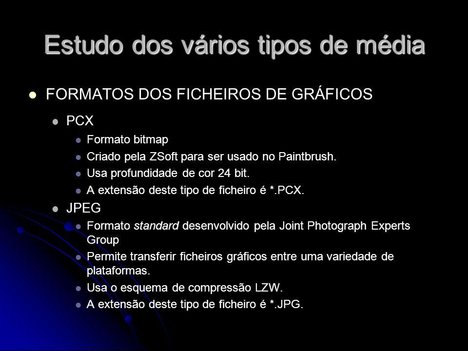 Estudo dos vários tipos de média FORMATOS DOS FICHEIROS DE GRÁFICOS PCX Formato bitmap Criado pela ZSoft para ser usado no Paintbrush. Usa profundidad