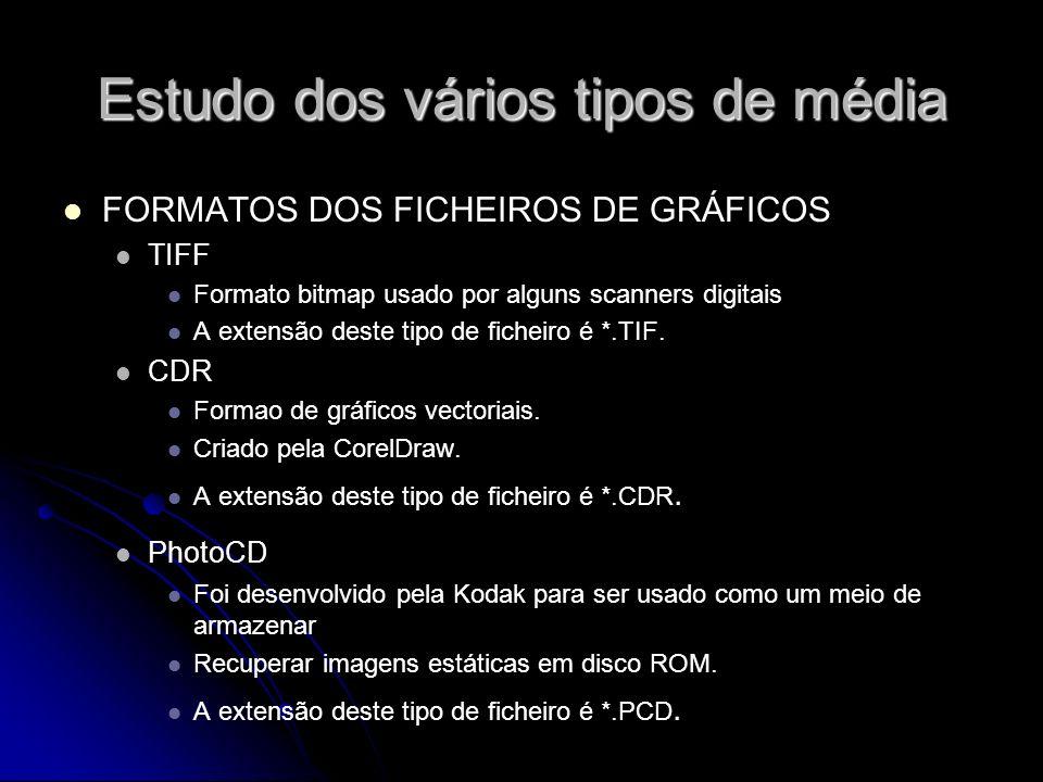 Estudo dos vários tipos de média FORMATOS DOS FICHEIROS DE GRÁFICOS TIFF Formato bitmap usado por alguns scanners digitais A extensão deste tipo de ficheiro é *.TIF.