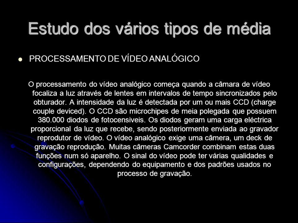 Estudo dos vários tipos de média PROCESSAMENTO DE VÍDEO ANALÓGICO O processamento do vídeo analógico começa quando a câmara de vídeo focaliza a luz através de lentes em intervalos de tempo sincronizados pelo obturador.