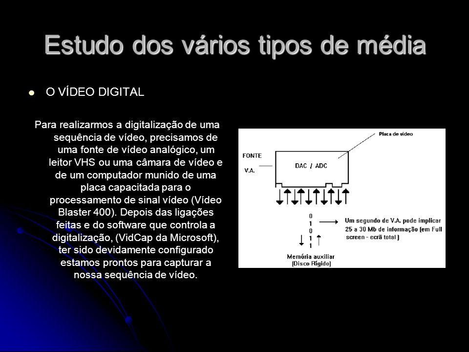 Estudo dos vários tipos de média O VÍDEO DIGITAL Para realizarmos a digitalização de uma sequência de vídeo, precisamos de uma fonte de vídeo analógico, um leitor VHS ou uma câmara de vídeo e de um computador munido de uma placa capacitada para o processamento de sinal vídeo (Vídeo Blaster 400).