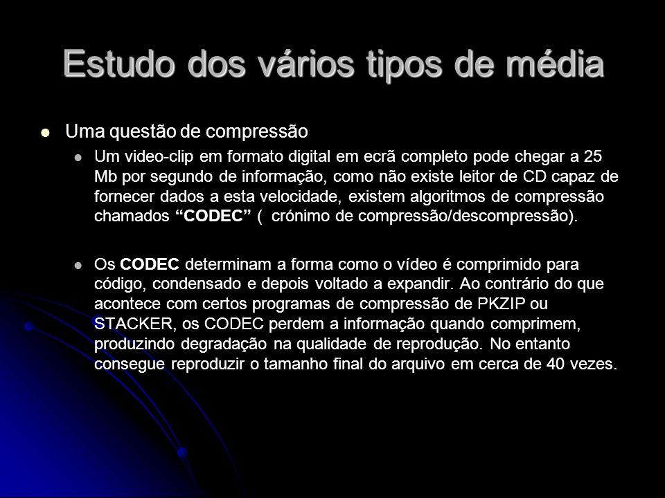 Estudo dos vários tipos de média Uma questão de compressão Um video-clip em formato digital em ecrã completo pode chegar a 25 Mb por segundo de inform