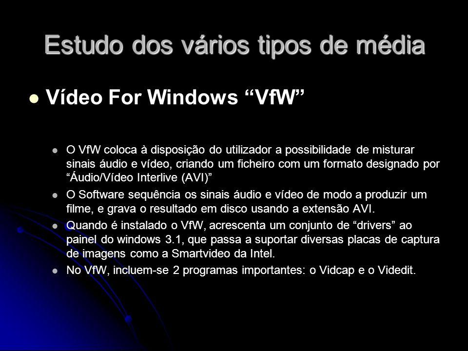 Estudo dos vários tipos de média Vídeo For Windows VfW O VfW coloca à disposição do utilizador a possibilidade de misturar sinais áudio e vídeo, criando um ficheiro com um formato designado por Áudio/Vídeo Interlive (AVI) O Software sequência os sinais áudio e vídeo de modo a produzir um filme, e grava o resultado em disco usando a extensão AVI.