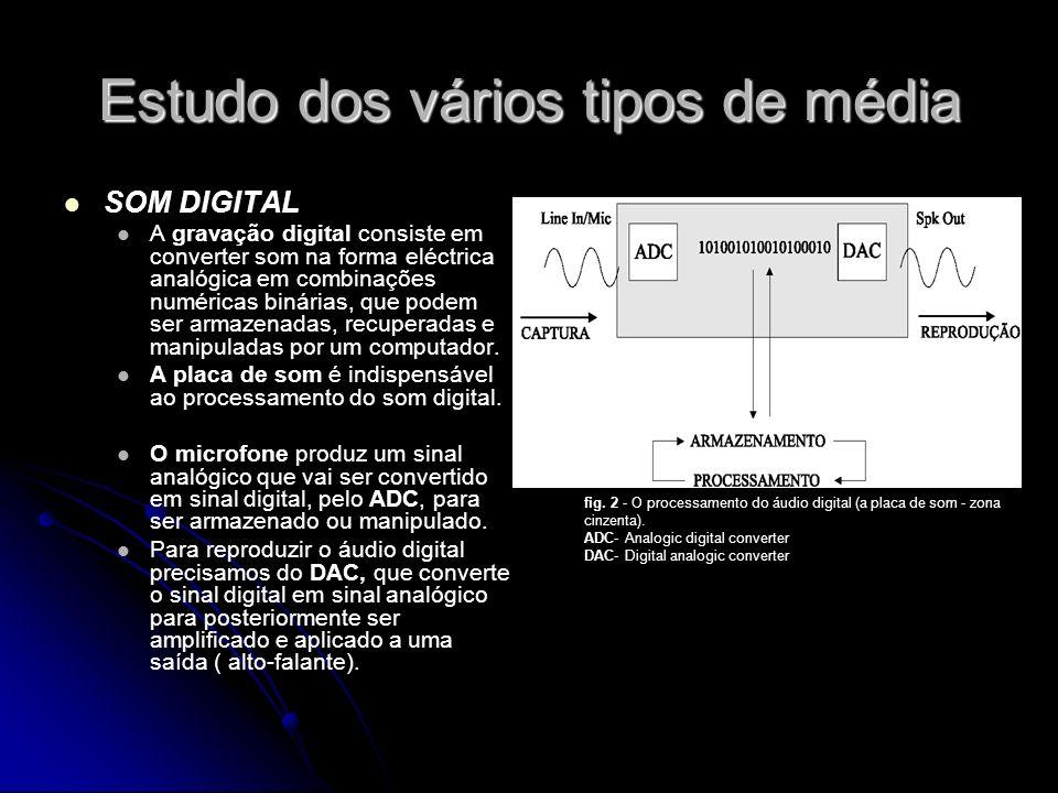Estudo dos vários tipos de média SOM DIGITAL A gravação digital consiste em converter som na forma eléctrica analógica em combinações numéricas binárias, que podem ser armazenadas, recuperadas e manipuladas por um computador.