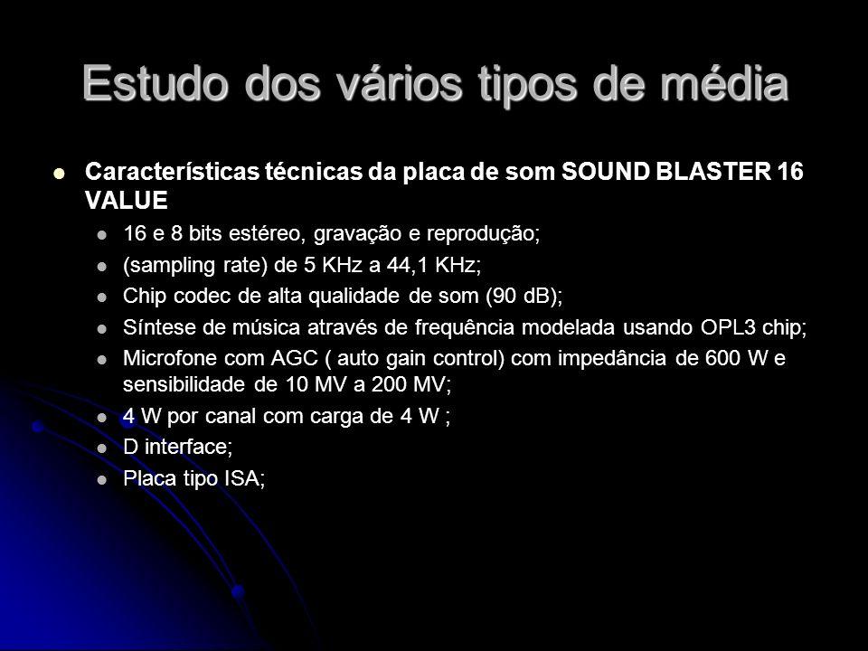 Estudo dos vários tipos de média Características técnicas da placa de som SOUND BLASTER 16 VALUE 16 e 8 bits estéreo, gravação e reprodução; (sampling