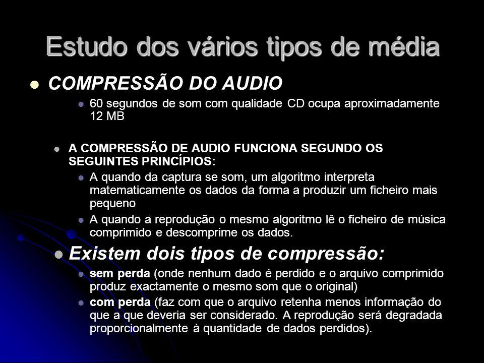 Estudo dos vários tipos de média COMPRESSÃO DO AUDIO 60 segundos de som com qualidade CD ocupa aproximadamente 12 MB A COMPRESSÃO DE AUDIO FUNCIONA SEGUNDO OS SEGUINTES PRINCÍPIOS: A quando da captura se som, um algoritmo interpreta matematicamente os dados da forma a produzir um ficheiro mais pequeno A quando a reprodução o mesmo algoritmo lê o ficheiro de música comprimido e descomprime os dados.