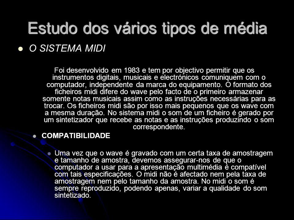 Estudo dos vários tipos de média O SISTEMA MIDI Foi desenvolvido em 1983 e tem por objectivo permitir que os instrumentos digitais, musicais e electrónicos comuniquem com o computador, independente da marca do equipamento.