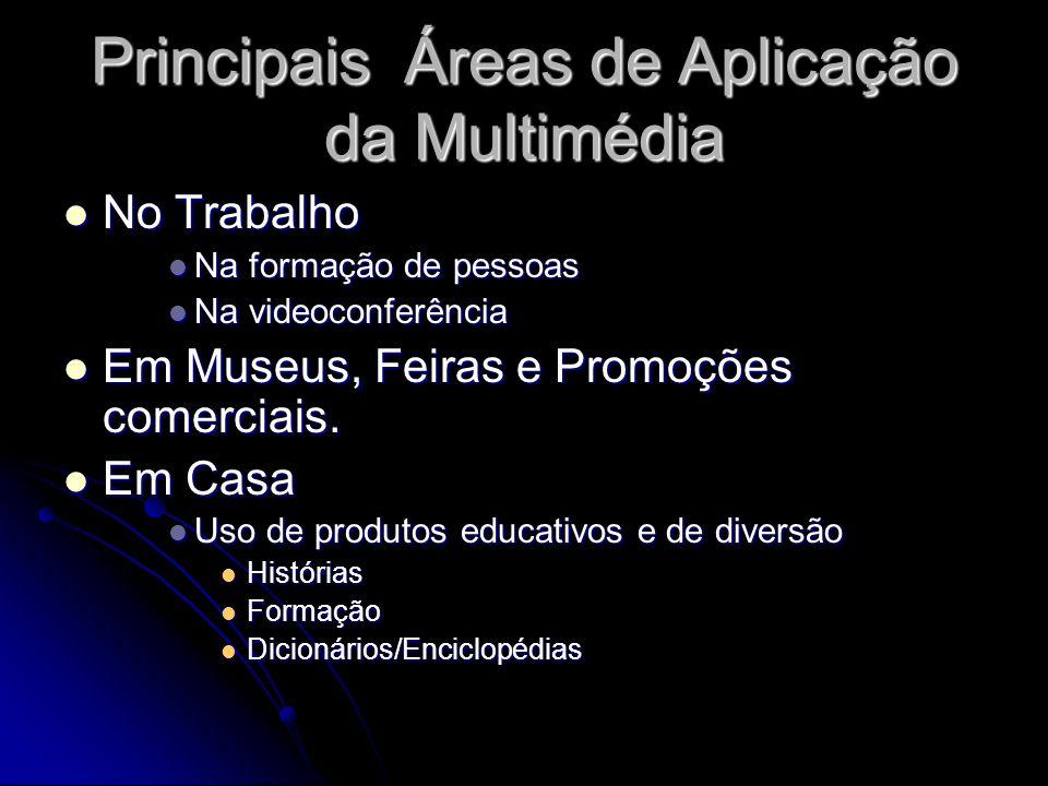 Principais Áreas de Aplicação da Multimédia No Trabalho No Trabalho Na formação de pessoas Na formação de pessoas Na videoconferência Na videoconferência Em Museus, Feiras e Promoções comerciais.