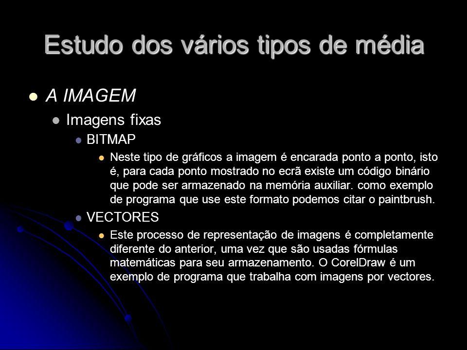 Estudo dos vários tipos de média A IMAGEM Imagens fixas BITMAP Neste tipo de gráficos a imagem é encarada ponto a ponto, isto é, para cada ponto mostrado no ecrã existe um código binário que pode ser armazenado na memória auxiliar.