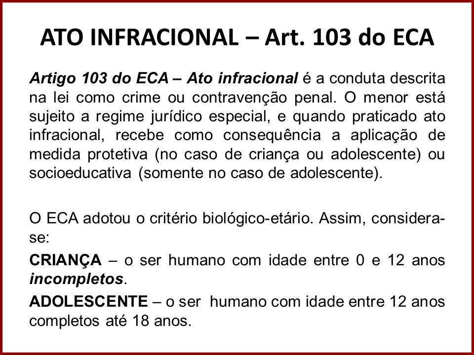ATO INFRACIONAL – Art. 103 do ECA Artigo 103 do ECA – Ato infracional é a conduta descrita na lei como crime ou contravenção penal. O menor está sujei