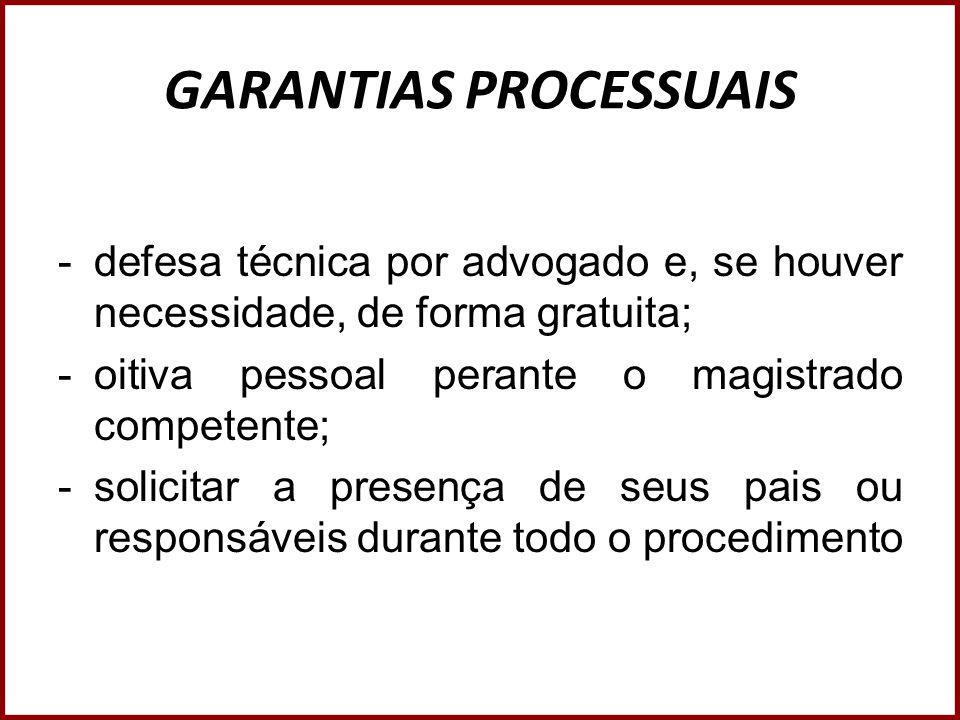 GARANTIAS PROCESSUAIS -defesa técnica por advogado e, se houver necessidade, de forma gratuita; -oitiva pessoal perante o magistrado competente; -soli