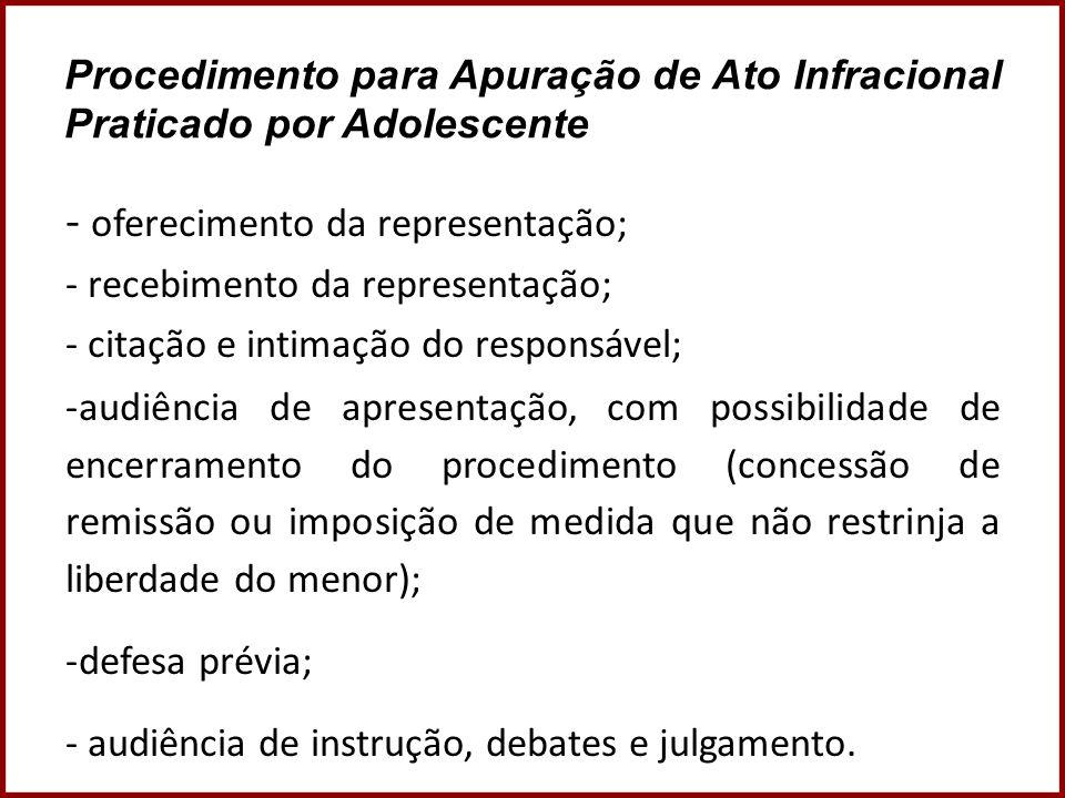 Procedimento para Apuração de Ato Infracional Praticado por Adolescente - oferecimento da representação; - recebimento da representação; - citação e i