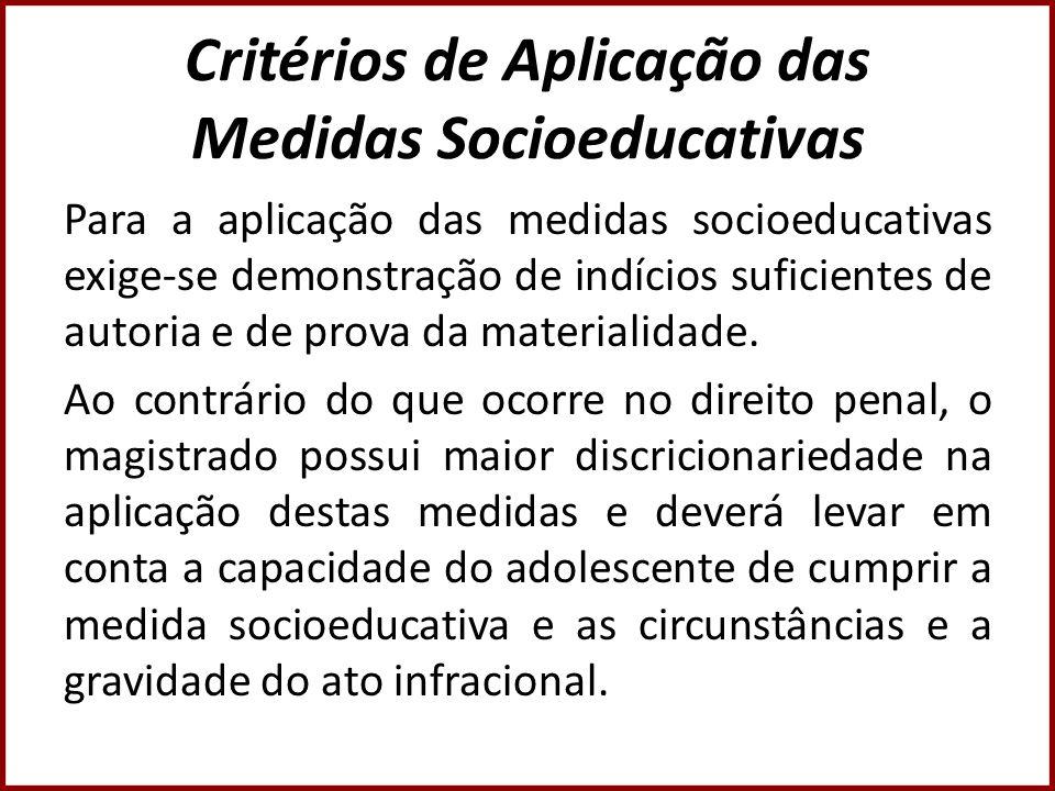 Critérios de Aplicação das Medidas Socioeducativas Para a aplicação das medidas socioeducativas exige-se demonstração de indícios suficientes de autor