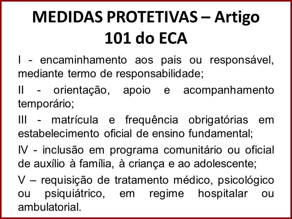 MEDIDAS PROTETIVAS – Artigo 101 do ECA I - encaminhamento aos pais ou responsável, mediante termo de responsabilidade; II - orientação, apoio e acompa